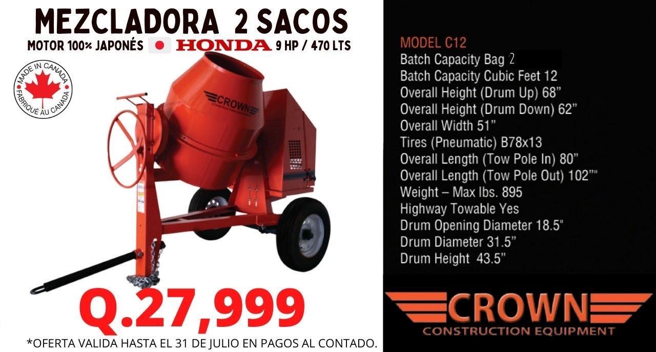 MEZCLADORA DE 2 SACOS CON MOTOR HONDA