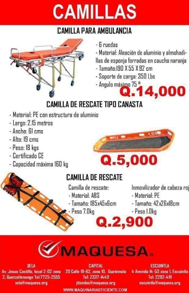 CAMIILLAS PARA RESCATE Y AMBULANCIAS